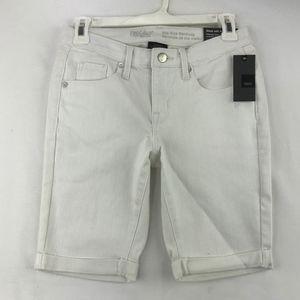 "Mossimo White Denim Bermuda Shorts 9"" Cuffed Sz 2"